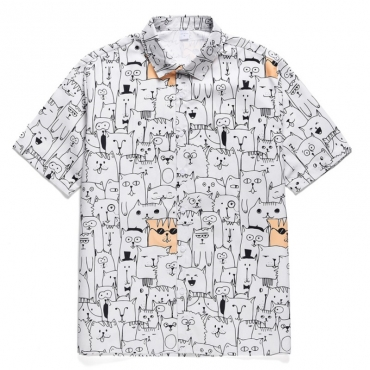 lovely Stylish Turndown Collar Cartoon Print White Shirt