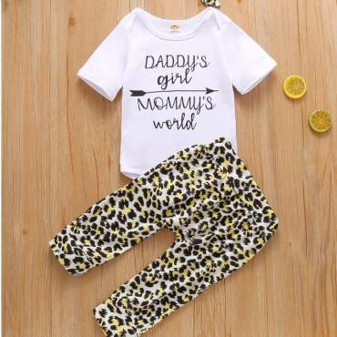 lovely Leisure O Neck Print White Girl Two-piece Pants Set