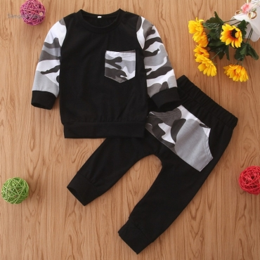lovely Casual Patchwork Black Boy Two-piece Pants Set