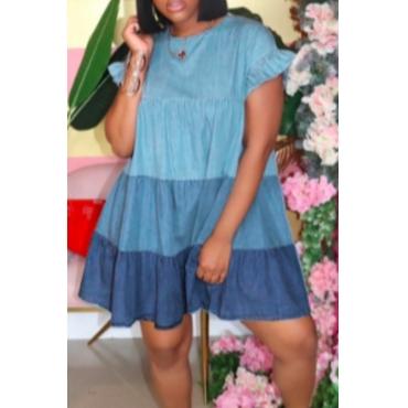 lovely Sweet O Neck Fold Design Blue Knee Length Denim Dress
