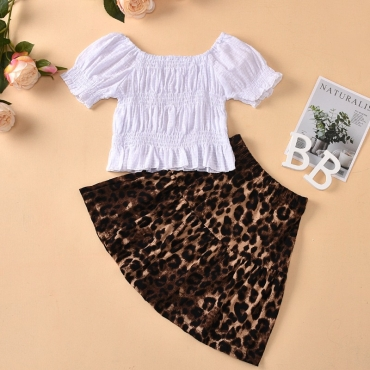 lovely Stylish Print White Girl Two-piece Skirt Set