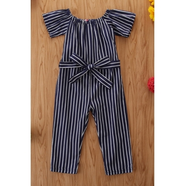 lovely Trendy Striped Blue Girl One-piece Jumpsuit