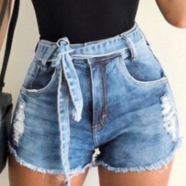 lovely Trendy Broken Holes Baby Blue Denim Shorts