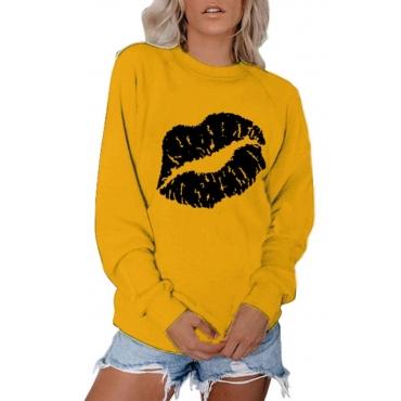 lovely Sportswear Lip Print Yellow Plus Size Hoodie