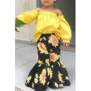 lovely Stylish Floral Print Yellow Girl Two-piece Pants Set