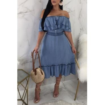lovely Sweet Flounce Design Blue Knee Length Denim Dresses