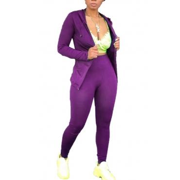 lovely Sportswear Zipper Design Purple Two-piece Pants Set