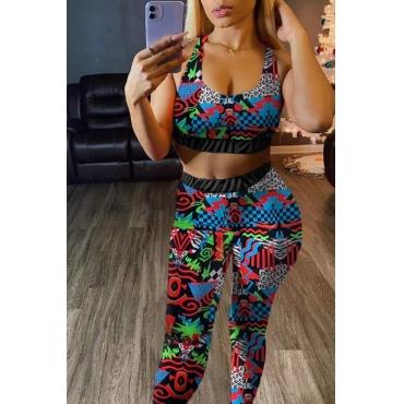 lovely Sportswear U Neck Print Multicolor Two-piece Pants Set