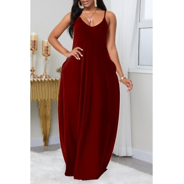 Lovely Leisure Pocket Patched Red Maxi Plus Size Dress