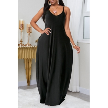Lovely Leisure Pocket Patched Black Maxi Plus Size Dress