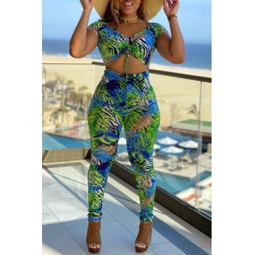 lovely Stylish Print Hollow-out Green One-piece Jumpsuit