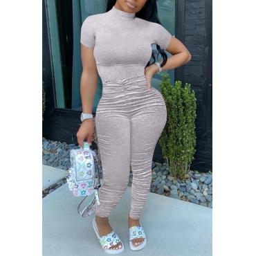 lovely Trendy Fold Design Grey One-piece Jumpsuit