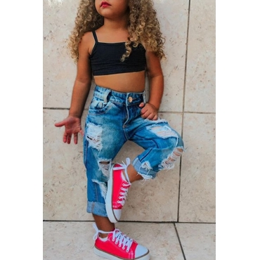 lovely Casual Broken Holes Black Girl Two-piece Pants Set