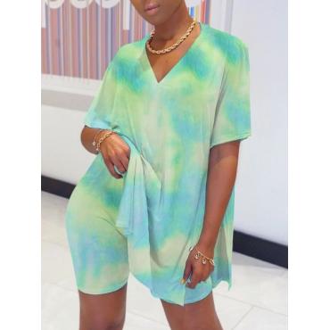 lovely Street V Neck Tie Dye Side Slit Blue Two Piece Shorts Set