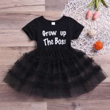 lovely Casual O Neck Letter Print Black Girl Knee Length Dress