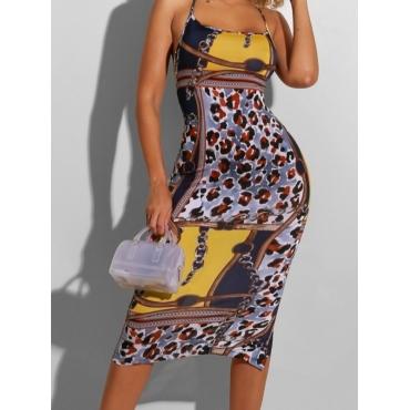 lovely Street Print Patchwork Leopard Print Knee Length Dress