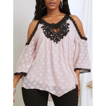 lovely Casual O Neck Dot Print Hollow-out Light Pink Blouse - $20.99