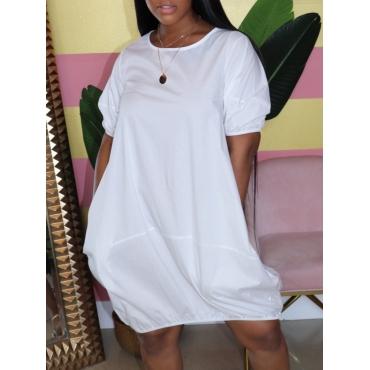 lovely Casual O Neck Loose White Knee Length Dress