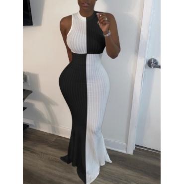 lovely Trendy Sleeveless Patchwork Black Maxi Dress