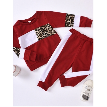 Lovely Sportswear O Neck Print Patchwork Red Girl