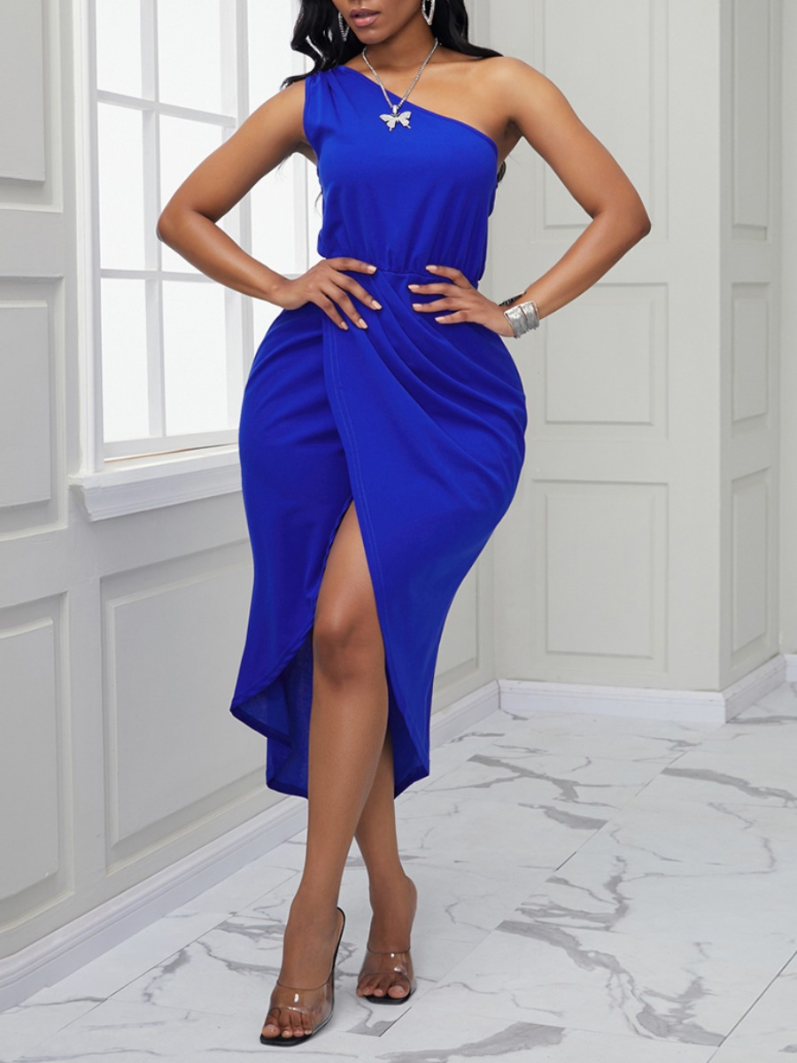 Lovely Trendy One Shoulder Asymmetrical Blue Mid Calf Dress фото