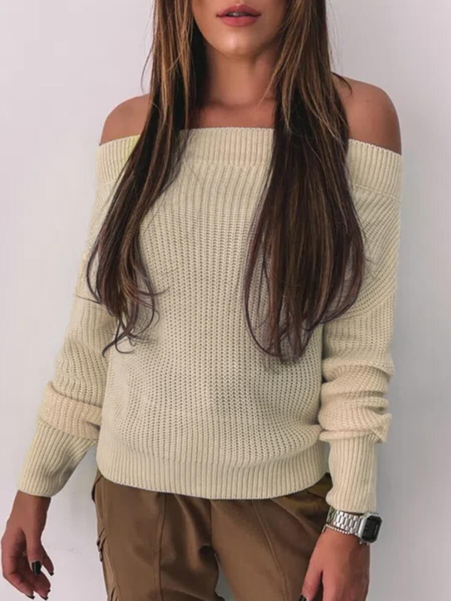 Sweaters & Cardigans lovely Casual Dew Shoulde Striepd Khaki Sweater фото
