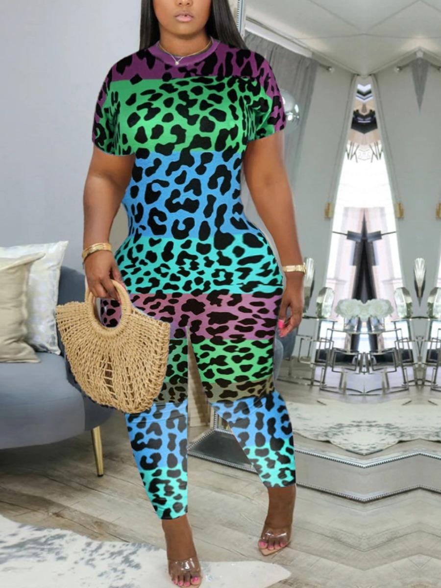 Plus Size Two-piece Pants Set Lovely Casual O Neck Leopard Print Green Plus Size One-piece Jumpsuit фото