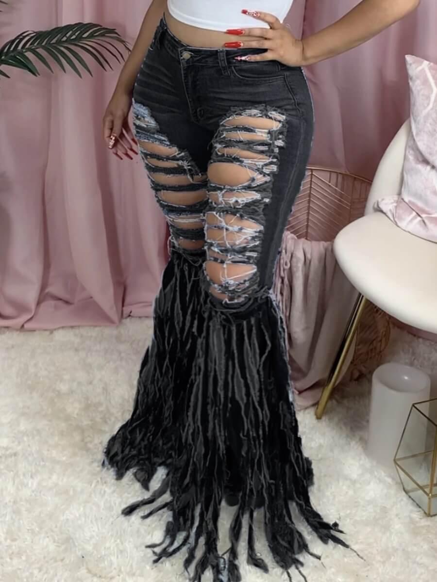 Lovely Street Broken Holes Tassel Design Black Jeans фото