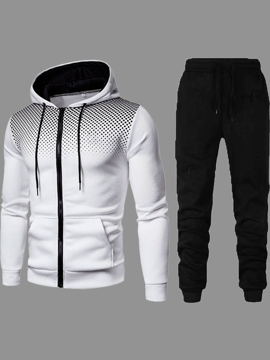 Lovely Street Hooded Collar Zipper Design White Two-piece Pants Set фото
