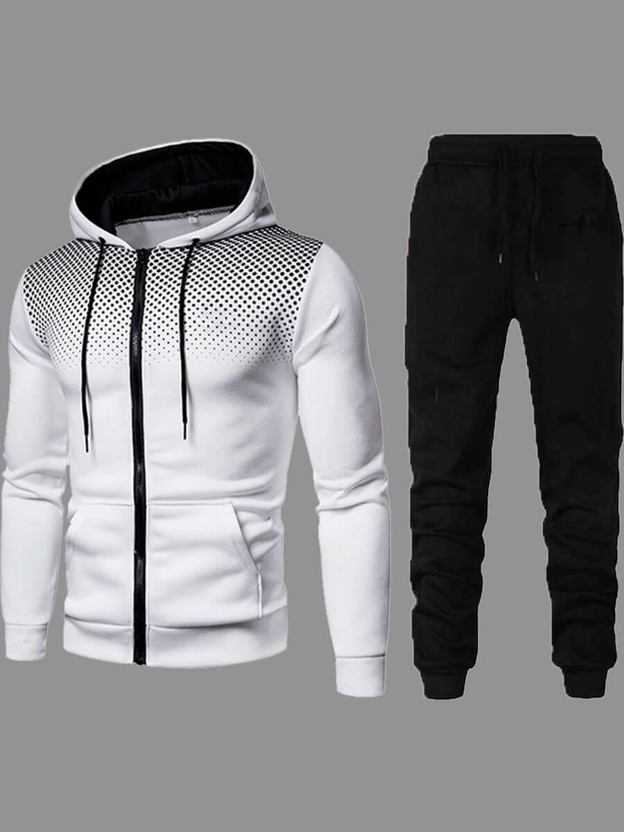 LW Men Street Hooded Collar Zipper Design White Two-piece Pants Set