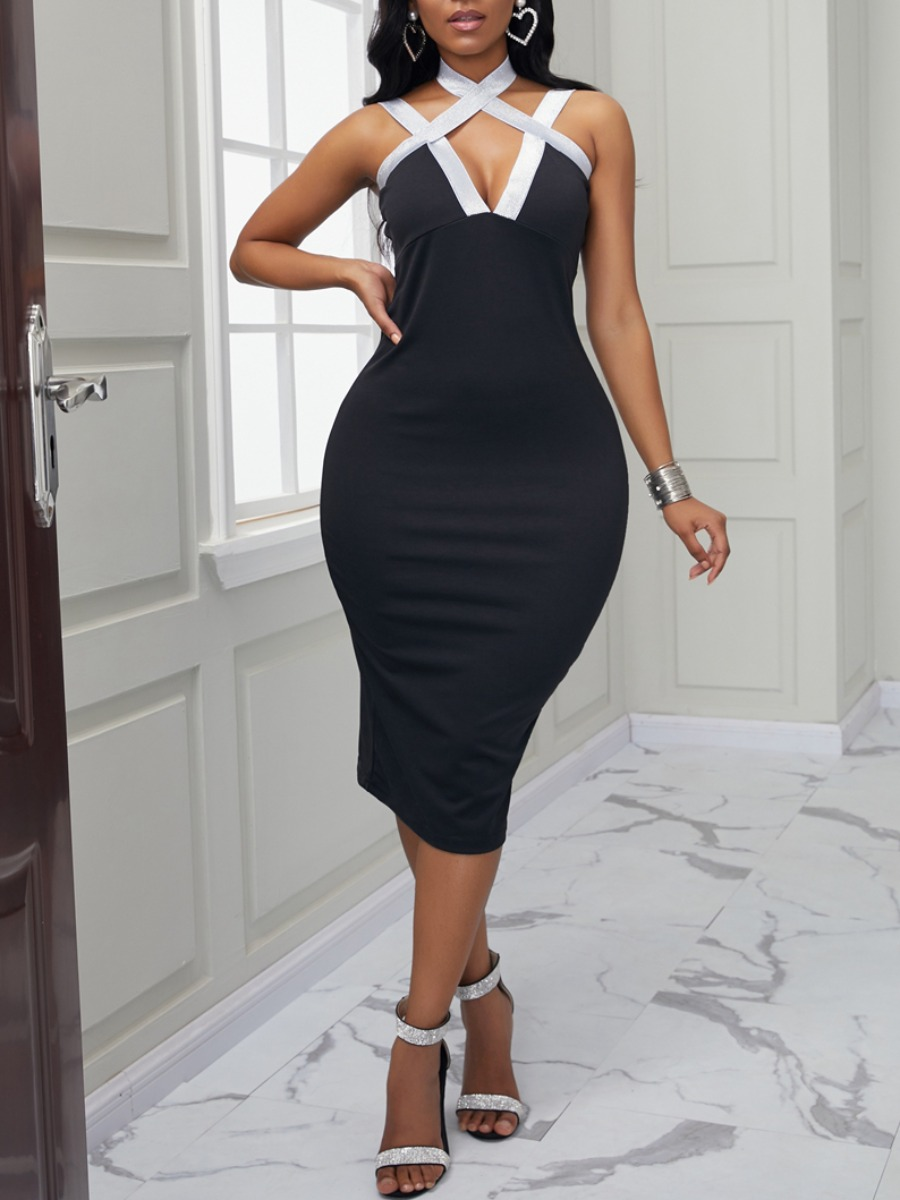 Lovely Sexy Cross-over Design Patchwork Black Knee Length Dress фото