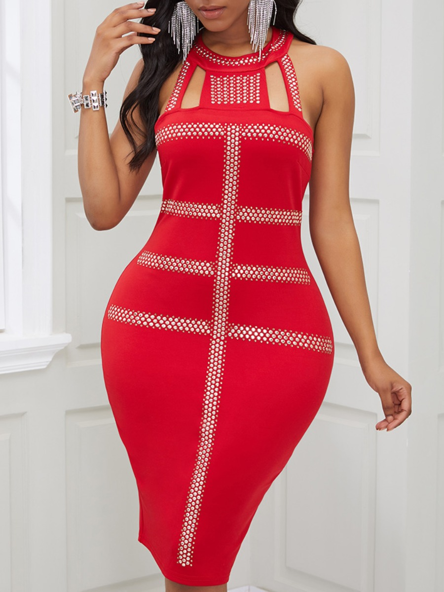 Lovely Sexy Hot Drilling Decorative Red Knee Length Dress фото