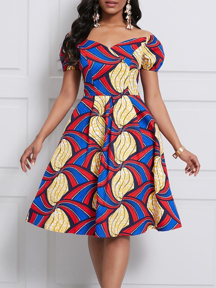 Lovely Trendy Print Multicolor Knee Length Dress фото