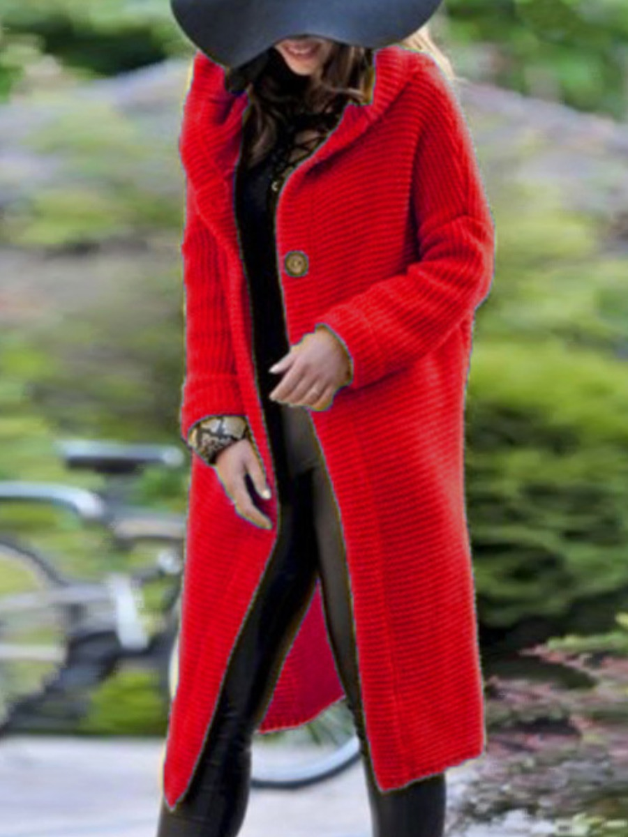 Wool&Blends lovely Casual Hooded Collar Buttons Design Red Wool фото