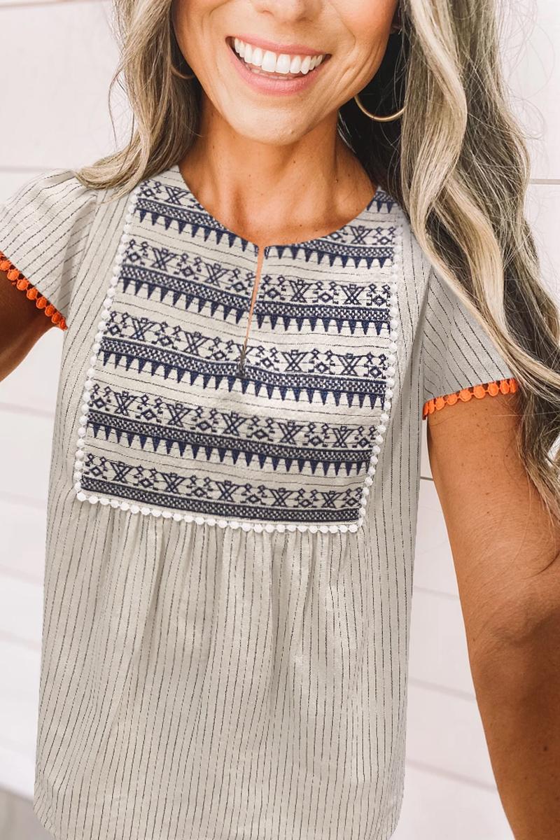 Lovely Striped Patchwork Khaki Blouse