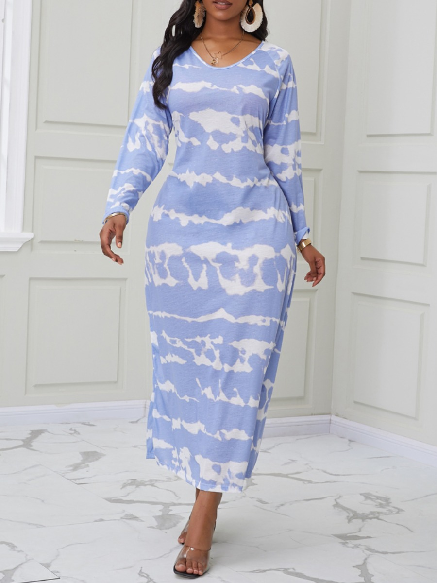 Daily Dress lovely Casual V Neck Tie-dye Baby Blue Ankle Length Dress фото