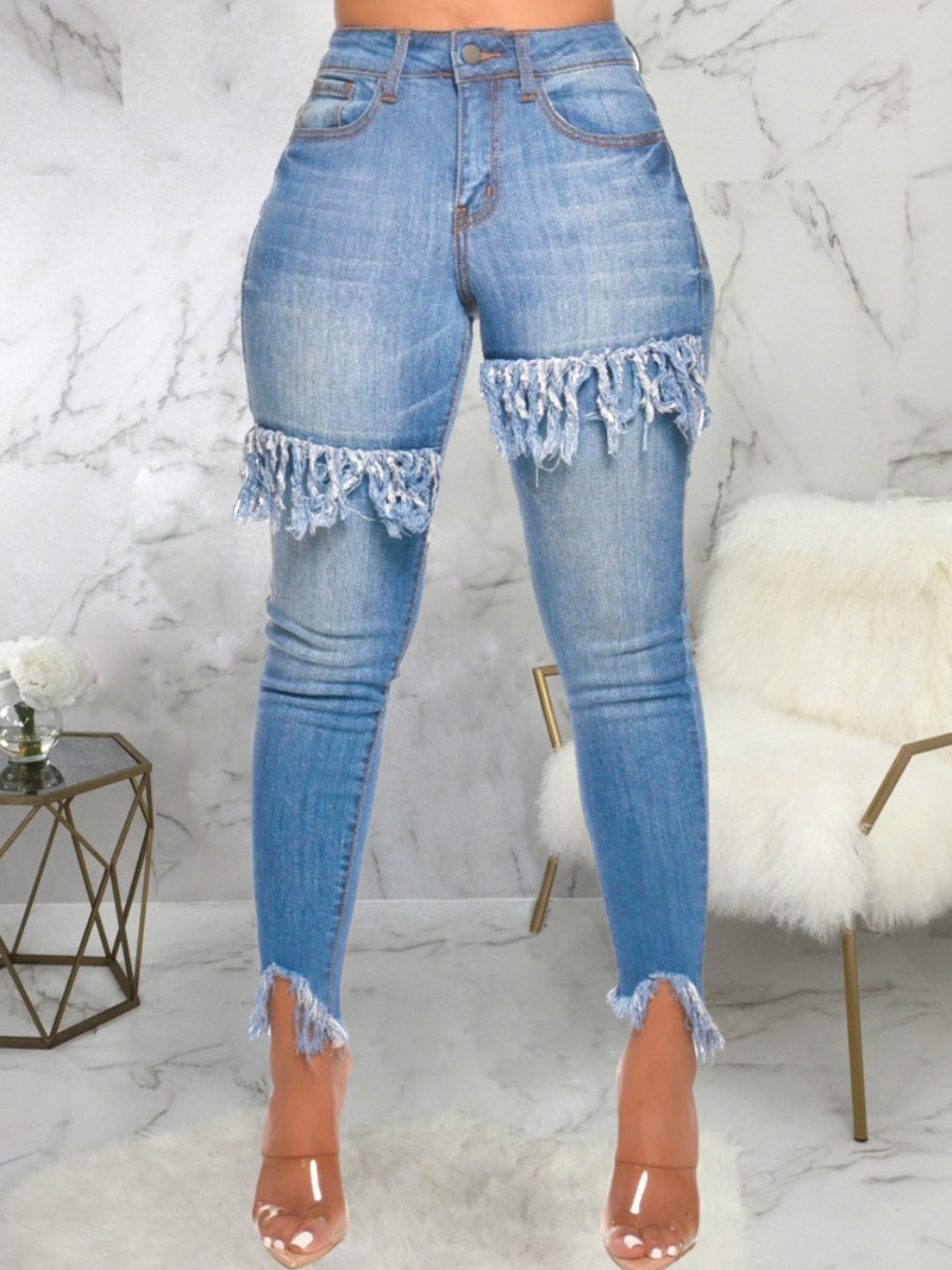Jeans lovely Trendy Tassel Design Patchwork Blue Denim Jacket фото