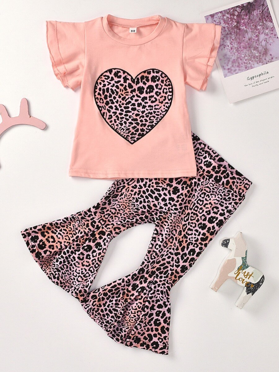 Girls Two-piece Pants Set lovely Casual O Neck Print Pink Girl Two-piece Pants Set фото