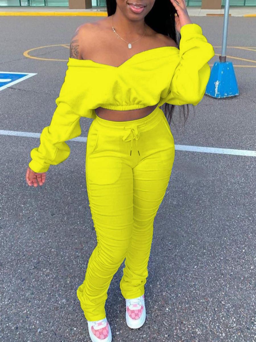 Two-piece Pants Set Lovely Trendy Dew Shoulder Fold Design Yellow Two Piece Pants Set фото