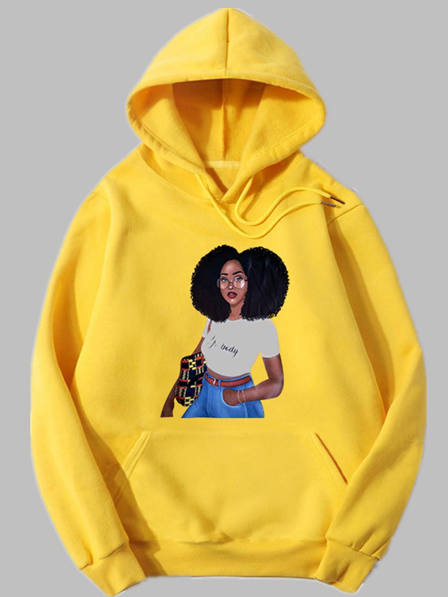 Hoodies lovely Casual Hooded Collar Print Yellow Hoodie фото