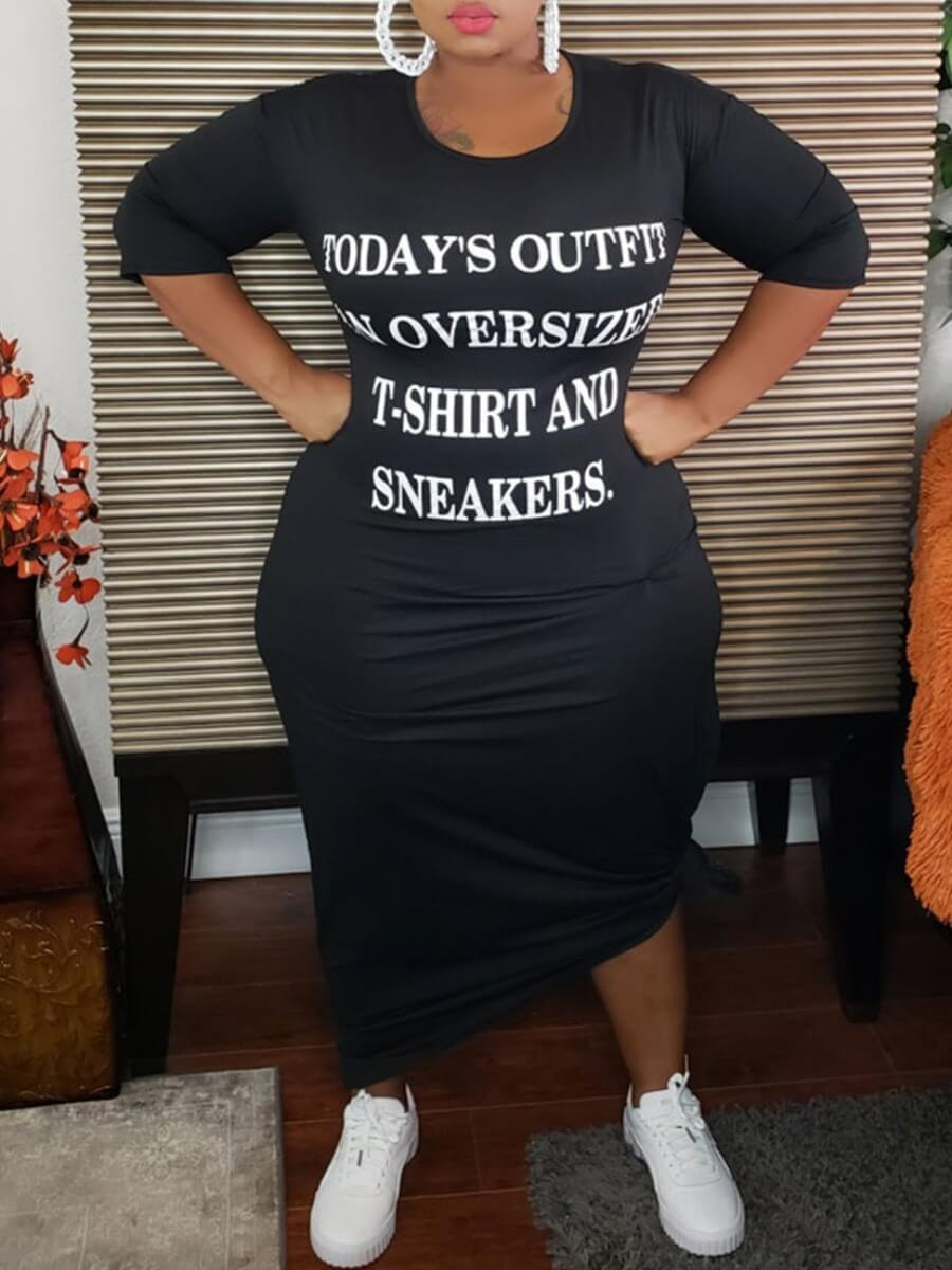 Lovely Casual O Neck Letter Print Black Ankle Length Plus Size Dress фото
