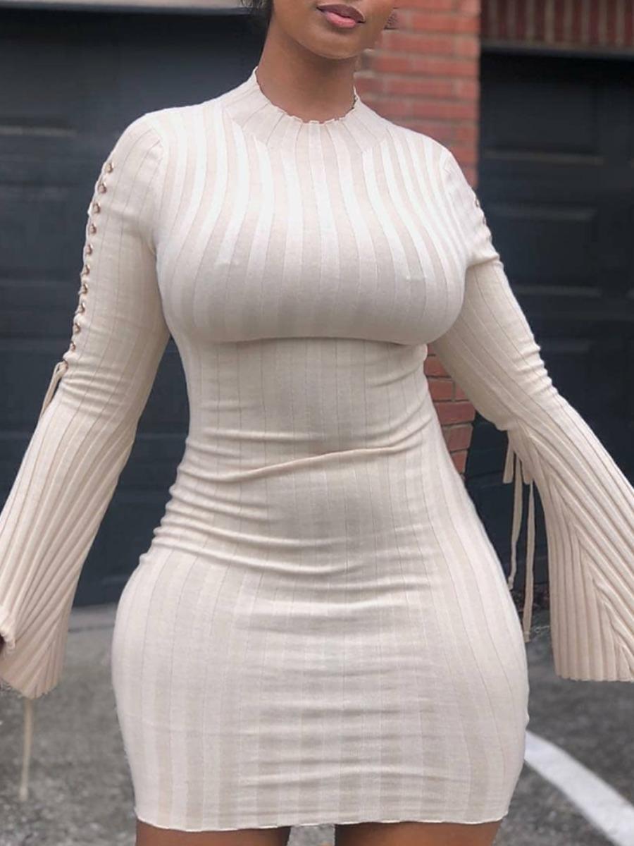 Lovely Trendy O Neck Striped White Mini Plus Size Dress фото