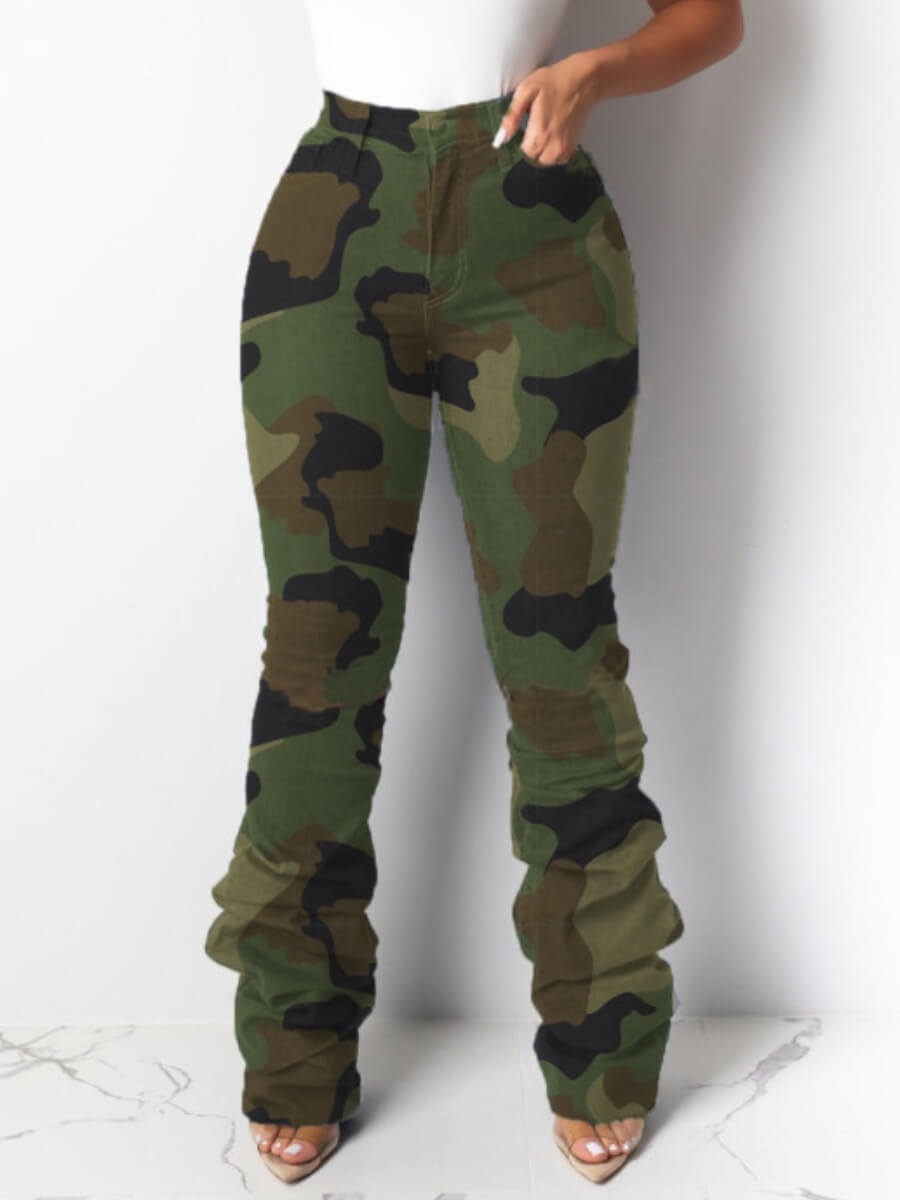 Lovely Leisure Heap Camo Print Army Green Jeans фото