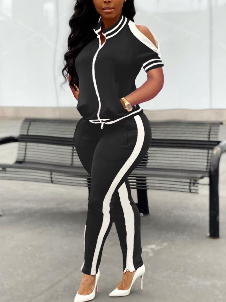 Two-piece Pants Set lovely Sportswear Hollow-out Patchwork Black Two Piece Pants Set фото