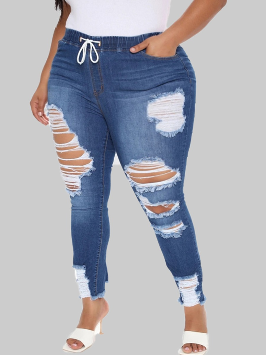 Lovely Trendy Broken Holes Blue Plus Size Jeans фото