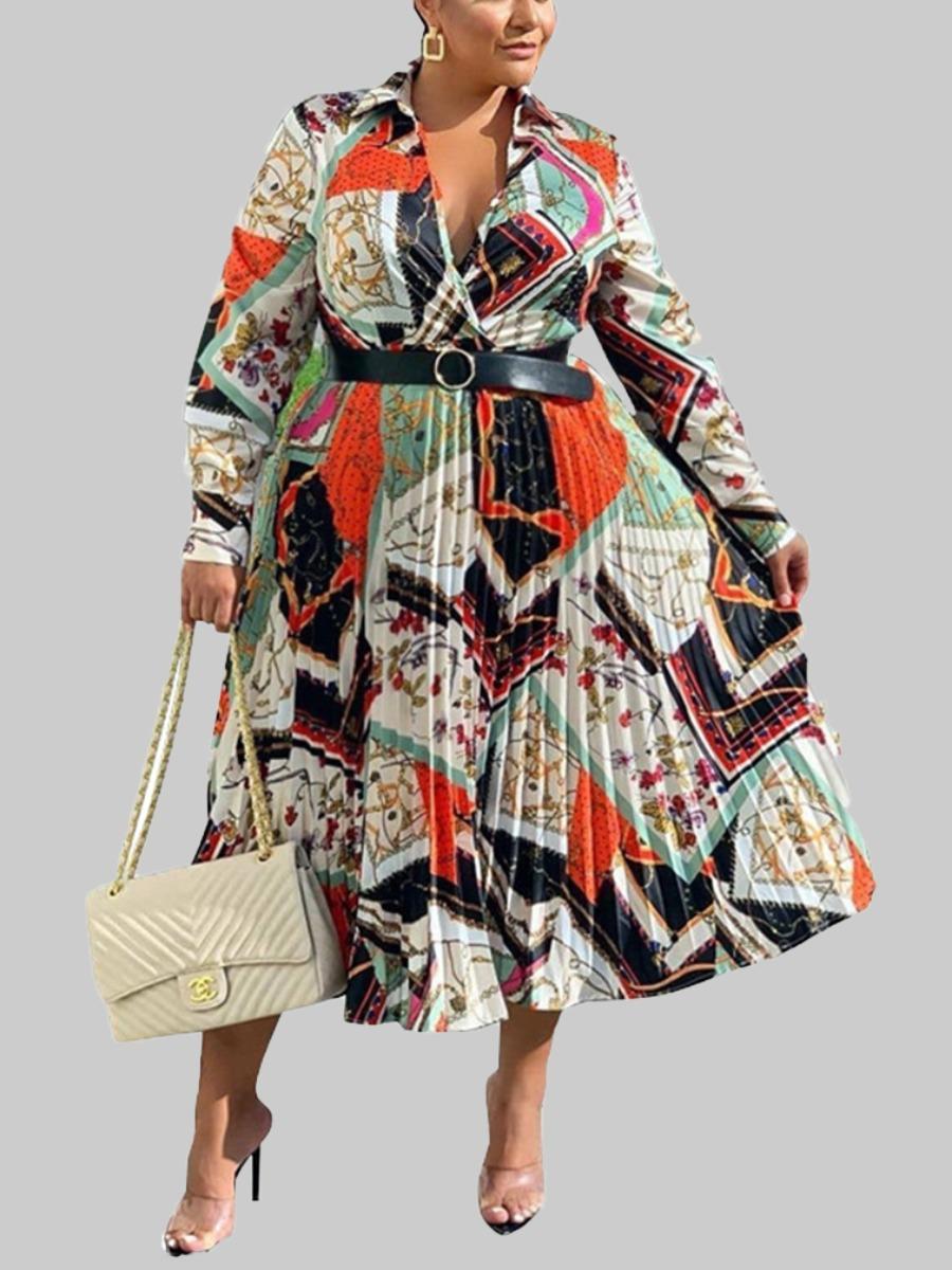 Lovely Bohemian Turndown Collar Print Multicolor Ankle Length Plus Size Dress фото