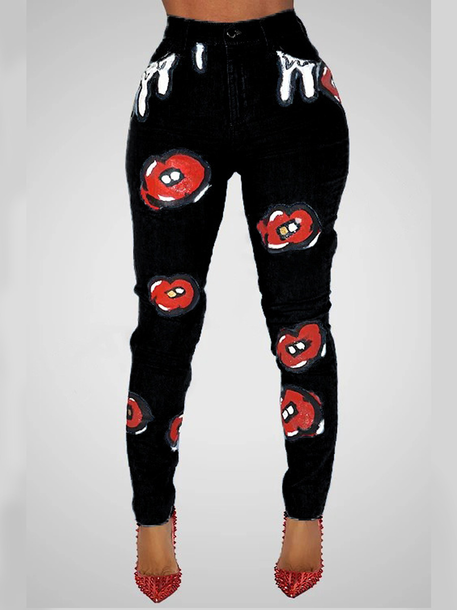 Lovely Casual Print Skinny Black Jeans фото