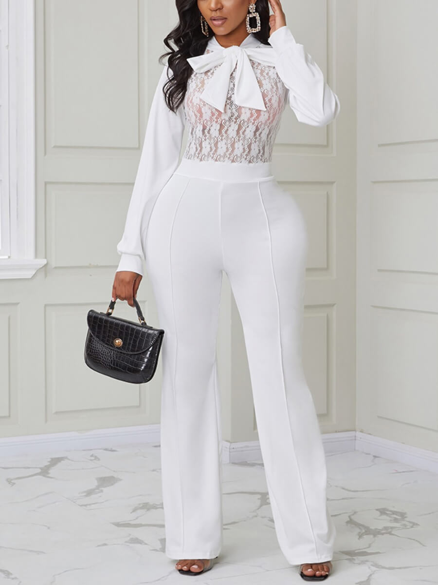 Lovely Sexy See-through Patchwork White One-piece Jumpsuit фото