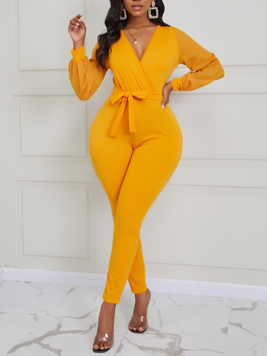 Lovely Sexy V Neck Lace-up Yellow One-piece Jumpsuit фото
