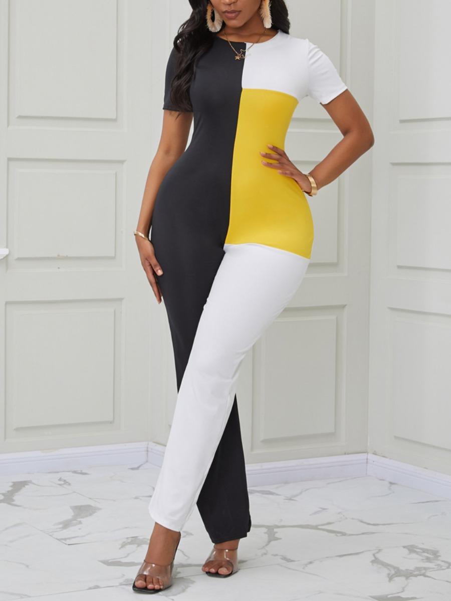 Lovely Trendy Color-lump Patchwork Multicolor One-piece Jumpsuit фото